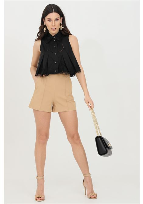 Black shorts in ottoman with gold details, brand: Elisabetta Franchi ELISABETTA FRANCHI | Shorts | SH00111E2470