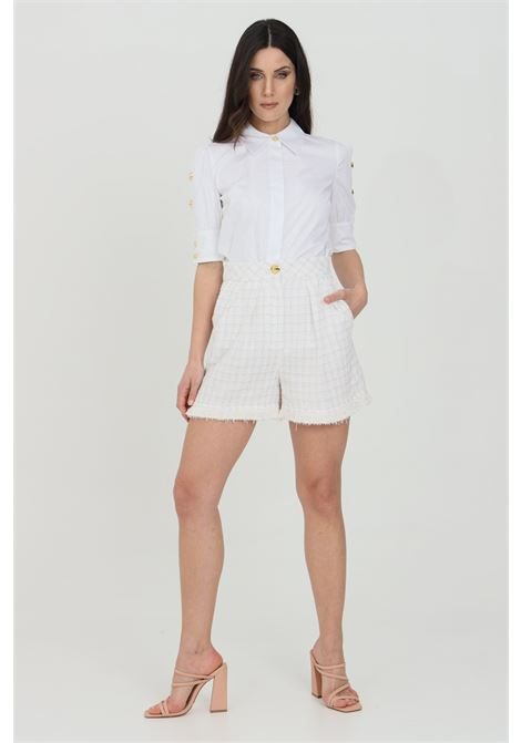 Shorts donna bianco elisabetta franchi in tweed a vita alta ELISABETTA FRANCHI | Shorts | SH00313E2360