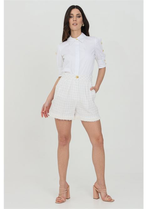 shorts woman white elisabetta franchi tweed high waist ELISABETTA FRANCHI | Shorts | SH00313E2360