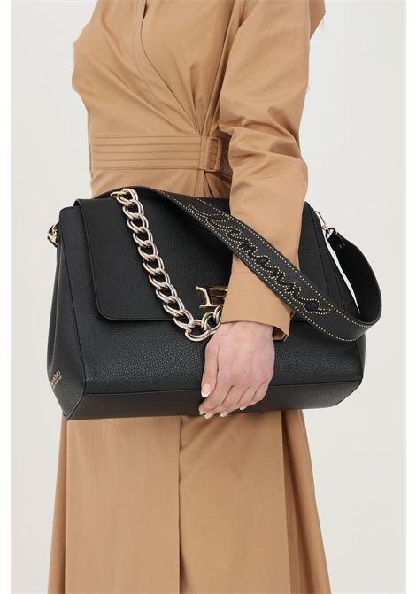 Black bag with removable shoulder strap with micro studs. Suede lining. Golden metal logo, chain handle. Ermanno scervino Ermanno scervino | Bag | 12401132293