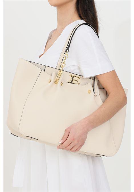 Cream Giovanna Shopping Bag, shopper model in faux leather, golden metal details, multifunction inner pocket, automatic closing. Ermanno scervino Ermanno scervino | Bag | 124011442609