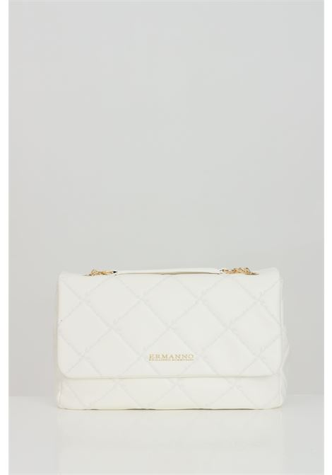 White bag in eco-leather with golden metal logo. Double compartment with accessory pockets and pocket with central zip. Closure with flap and magnetic buttons. Ermanno scervino Ermanno scervino | Bag | 124011702275