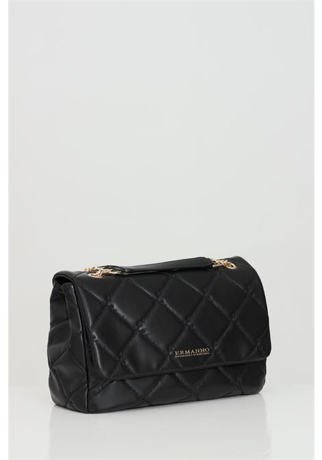 Black bag in eco-leather with golden metal logo. Double compartment with accessory pockets and pocket with central zip. Closure with flap and magnetic buttons. Ermanno scervino Ermanno scervino | Bag | 12401170293