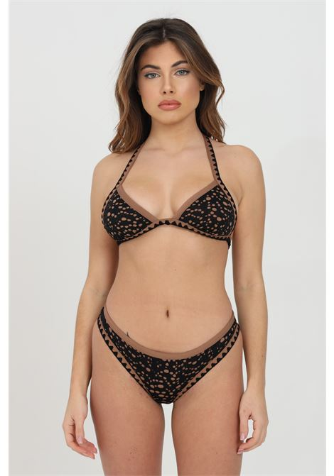 Brown bikini with embroidery print. Closure with laces and tassels on the back. F**k  F**K | Beachwear | F21-0140NR.