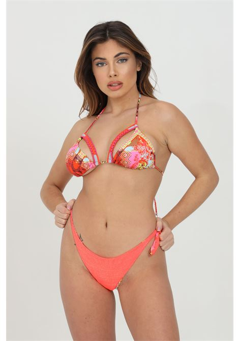 Orange bikini with gold glitter. Cut on the cups. Fantasy print. F**k F**K | Beachwear | F21-0340X1.