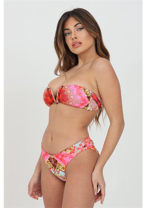 Beachwear costume donna rosa f**k bikini cmpleto con stampa fantasy e tagli al centro F**K | Beachwear | F21-0393X1.