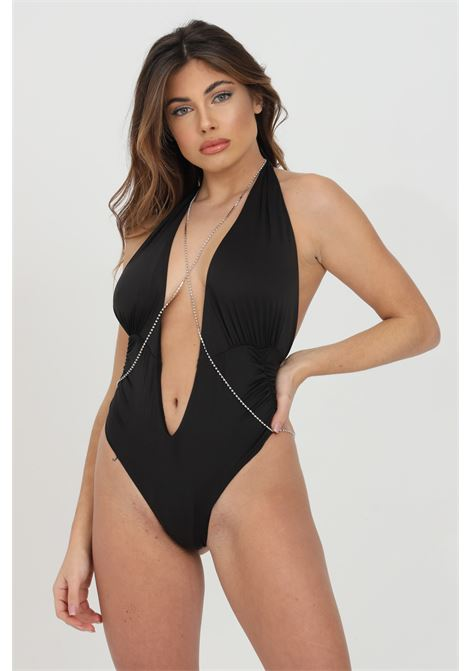 Black one piece swimsuit with deep neckline, solid color, open back. F**k     F**K | Beachwear | F21-0573NR.