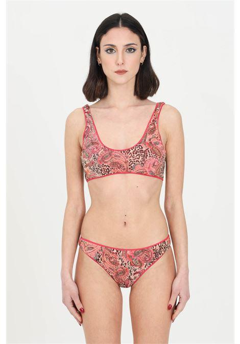 Pink bikini with bandeau top, no closures. Allover fantasy print. Reversible model. F**K   F**K | Beachwear | F21-0592X1.