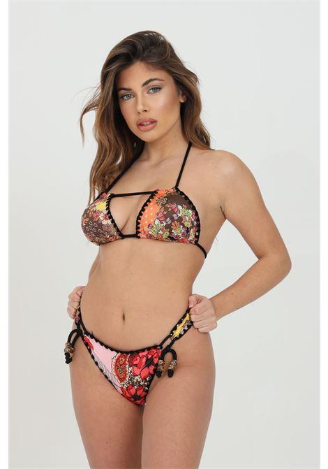 Multicolor bikini with fantasy print and braids with rope. F**k F**K | Beachwear | F21-0630X1.