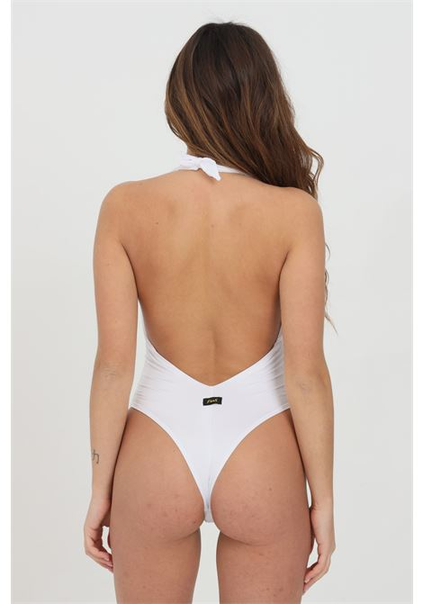 White one piece swimsuit in solid color with deep neckline and open back. F**K   F**K | Beachwear | F21-0702WH.