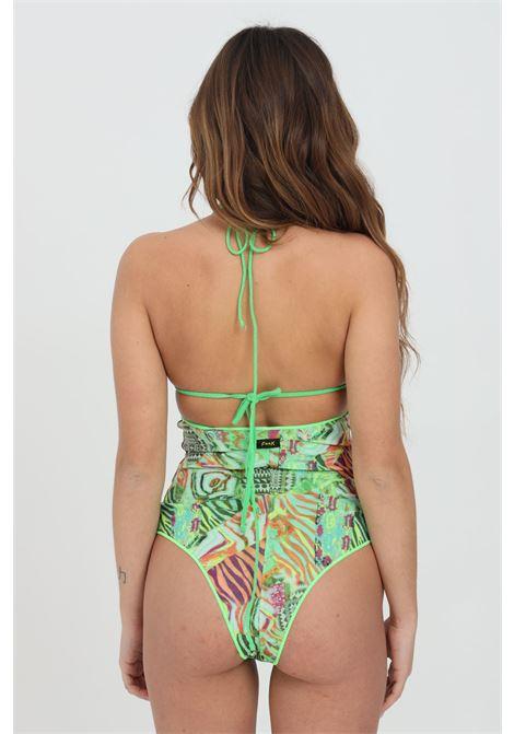 Green bikini with high waist, fantasy print and glitter pattern. Adjustable closure. F**K       F**K | Beachwear | F21-0744X1.