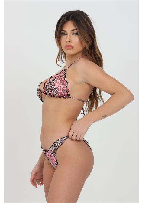 Lilac bikini with animal print. Side closure with bow. Flared hems and wave effect. F**K   F**K | Beachwear | F21-1524U.