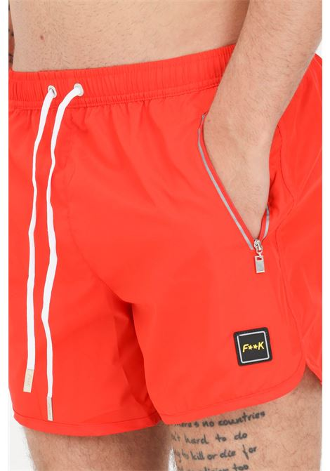 Costume uomo rosso f**k shorts mare in tinta unita F**K | Beachwear | F21-2004RS.