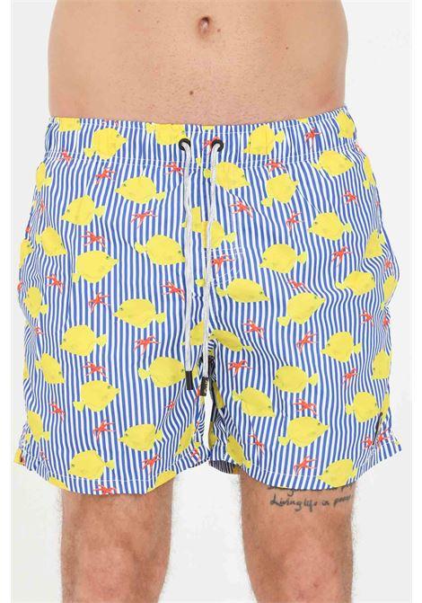 Shorts mare uomo azzurro giallo f**k con stampa pesci F**K | Beachwear | F21-2034U.