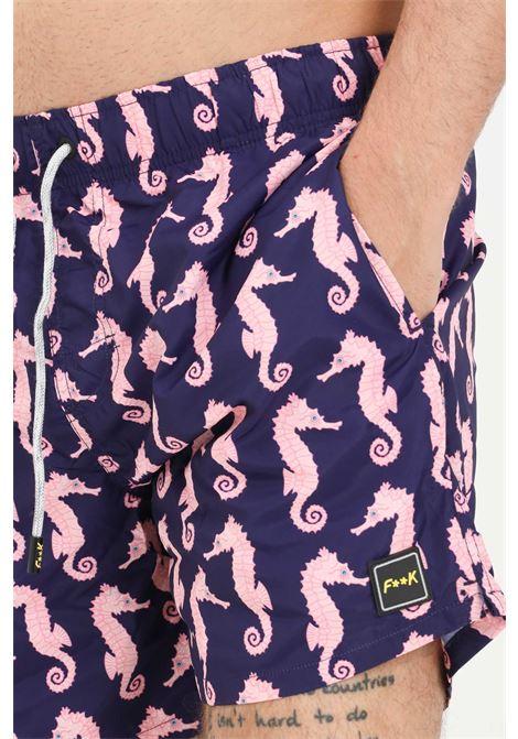 F ** k blue sea shorts with seahorse print F**K | Beachwear | F21-2043U.