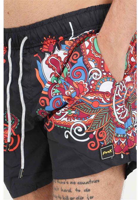 Black men's beach shorts with fantasy print f**k  F**K | Beachwear | F21-2060U.
