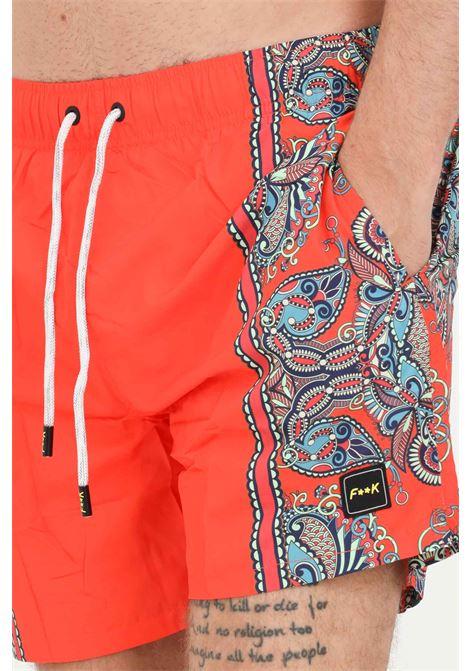 Shorts mare uomo arancio f**k a fantasia F**K | Beachwear | F21-2061U.
