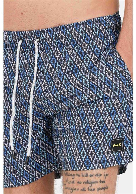 Shorts mare uomo blue f**k con stampa pattern F**K | Beachwear | F21-2066U.