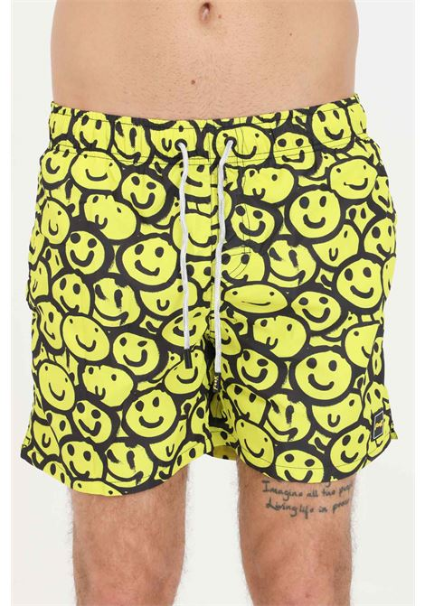 Shorts mare uomo giallo f**k con stampa pattern smile F**K | Beachwear | F21-2070U.