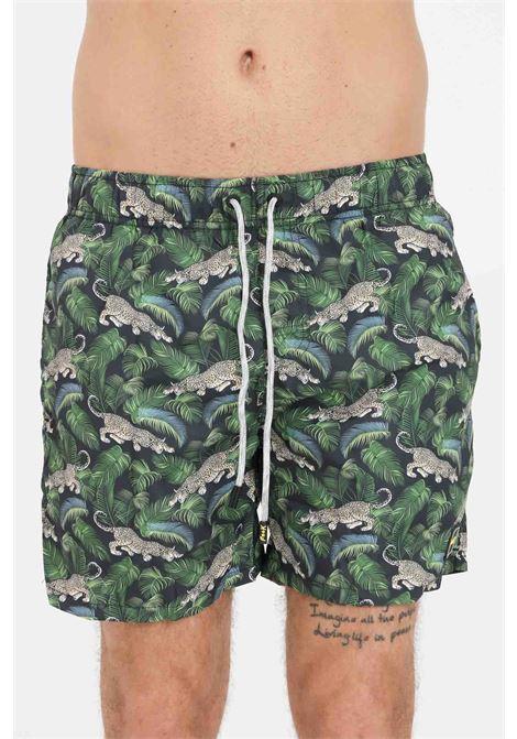 Shorts mare uomo verde f**k con stampa allover F**K | Beachwear | F21-2076U.