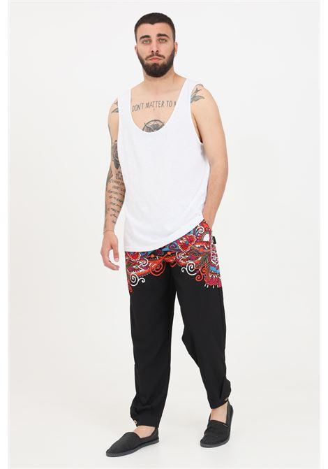 Pantaloni uomo nero f**k casual con stampa e coulisse in vita F**K | Pantaloni | F21-2152U.