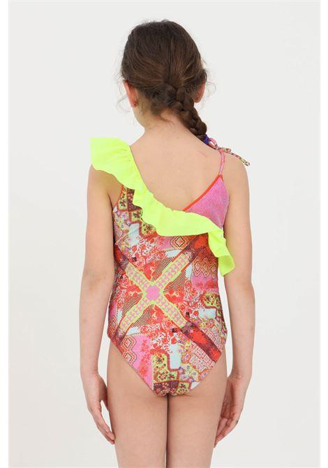 Costume intero bambina multicolor f**k con rouches F**K | Beachwear | FJ21-0364X1.