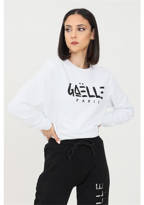 White women's sweatshirt by gaelle, crew neck model with logo on the front GAELLE | Sweatshirt | GBD8290BIANCO