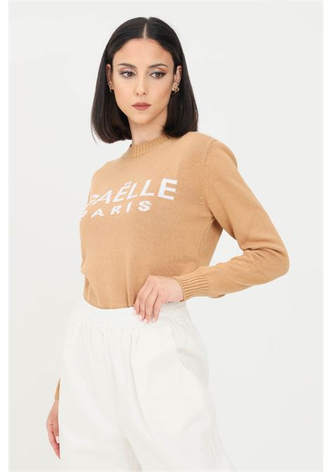 Coffee women's sweater by gaelle with logo on the front GAELLE | Knitwear | GBD8770CAFFÈ