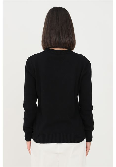 Black women's sweater by gaelle with logo on the front GAELLE | Knitwear | GBD8770NERO