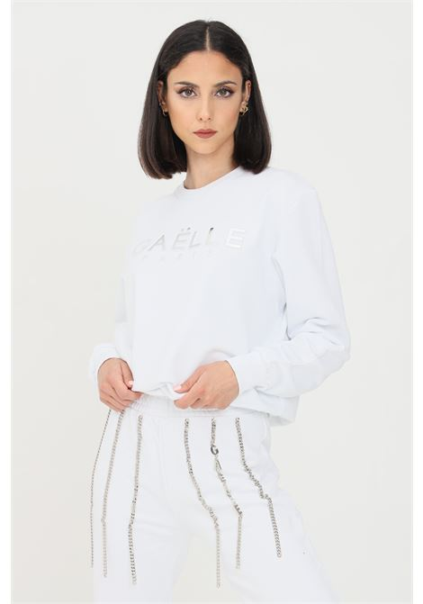 White women's sweatshirt with embossed gaelle logo GAELLE | Sweatshirt | GBD8810BIANCO