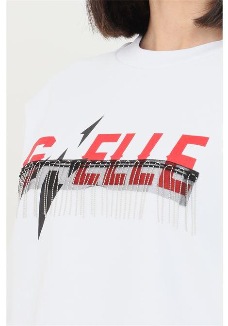 White women's sweatshirt by gaelle with metal fringes  GAELLE | Sweatshirt | GBD8849BIANCO