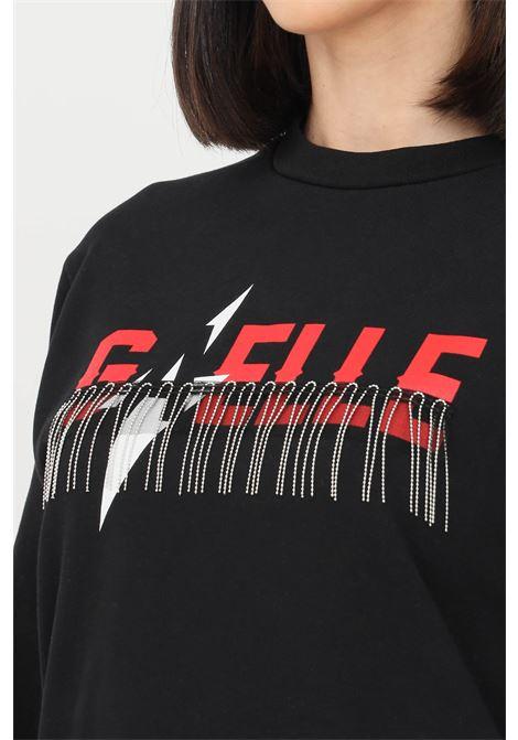 Black women's sweatshirt by gaelle with metal fringes  GAELLE | Sweatshirt | GBD8849NERO