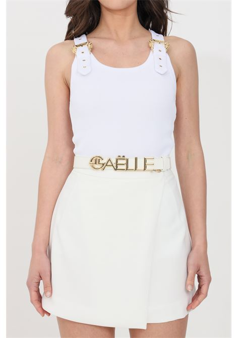 White belt with gold logo GAELLE | Belt | GBDA2333ABIANCO-ORO