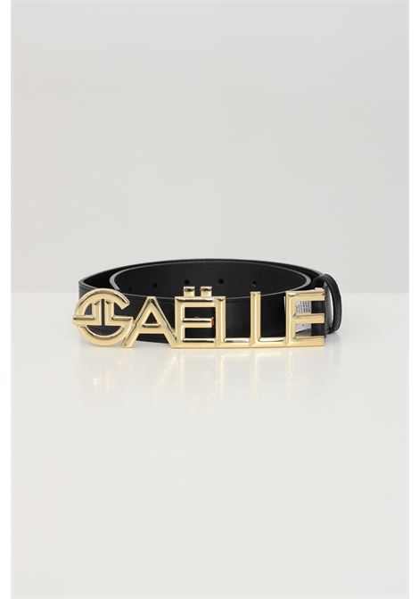 Black belt with gold logo GAELLE | Belt | GBDA2333ANERO-ORO