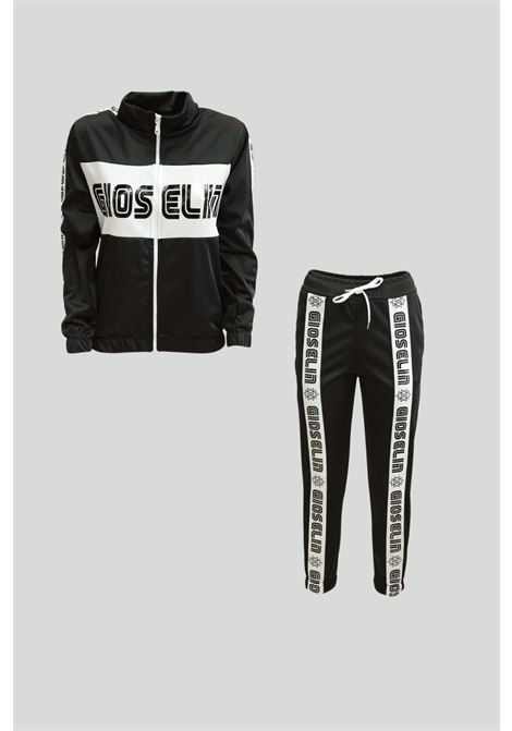 Black suit, sweatshirt with zip and maxi logo on the front, pants with elastic waist and front bands with logo. Baby model. Brand: Adidas GIOSELIN | Suit | GSB105NERO/BIANCO