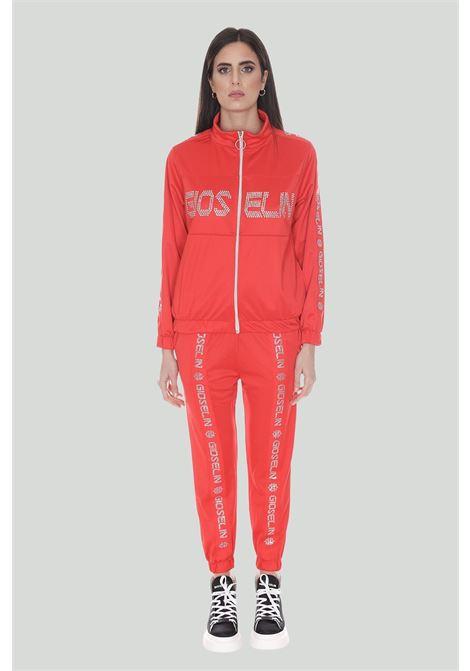 Tuta donna rosso gioselin sport, felpa con zip integrale e logo strass, pantaloni con polsini elastici e bande logate frontali GIOSELIN | Tute | TUTA STRASS DROSSO