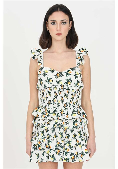 White top with flower pattern print. Model with curl at the waist.Glamorous GLAMOROUS | Top | AN3919LEMON AND PEAR PRINT