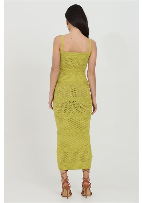 Skirt with embroidered weft and elastic band at waist GLAMOROUS | Skirt | CA0103OLIVE GREEN