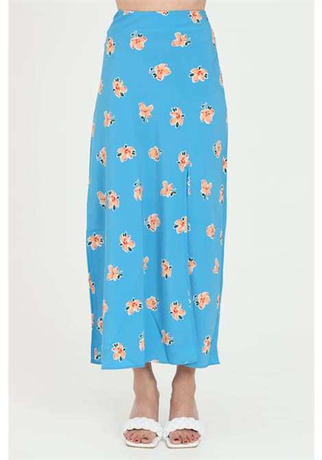 Gonna donna azzurro Glamorous lunga con spacco. Modello con vita alta. Taglio lungo GLAMOROUS | Gonne | CA0118TEAL ORANGE FLOWER