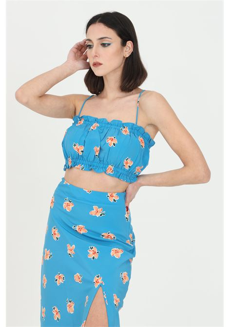 Blue short printed top.Comfortable model with curl.Glamorous GLAMOROUS | Top | CA0129TEAL ORANGE FLOWER