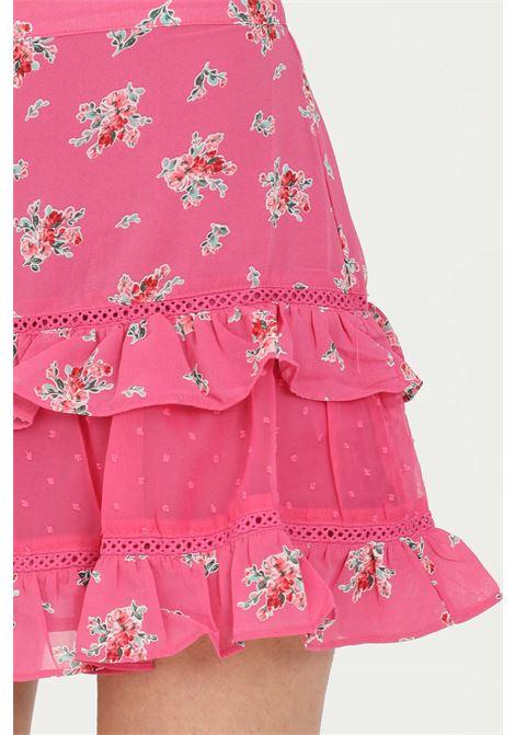 Gonna donna rosa Glamorous corta con balze sul fondo.Vita alta, modello stampato con temap flower pattern GLAMOROUS | Gonne | CK6026PINK FLORAL