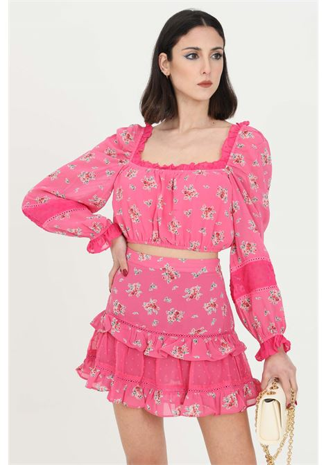 Top donna rosa Glamorous casual corto con trafori GLAMOROUS | Top | CK6027PINK FLORAL