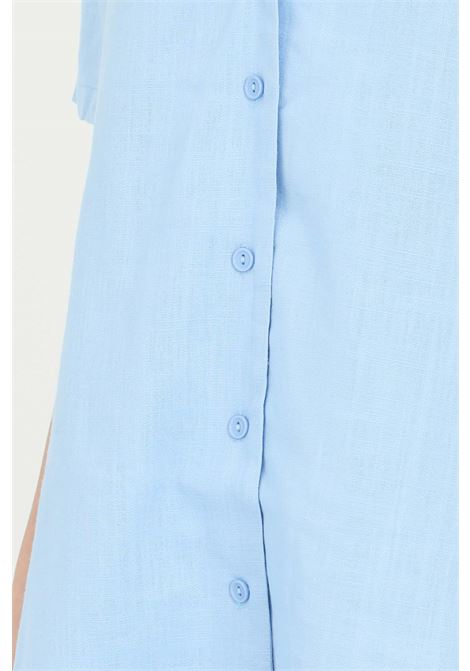 Camicia donna azzurro Glamorous con scollo.Modello over comodo, chiusura con bottoni e maniche corte GLAMOROUS | Camicie | CK6077SKY BLUE