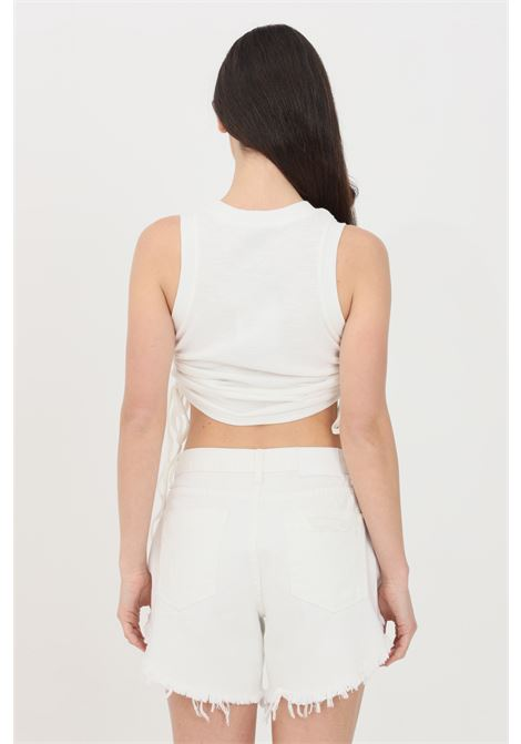 White casual top with side curls. Glamorous GLAMOROUS | Top | CK6125WHITE