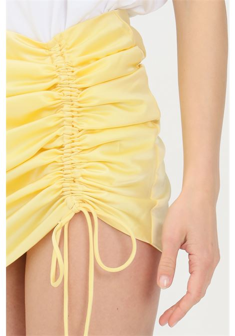 Gonna donna giallo glamorus corta con arriccio laterale GLAMOROUS | Gonne | GC0416PALE YELLOW