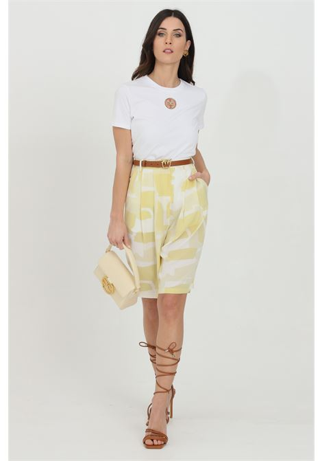 Shorts a fantasia bicolor chiusura con zip e gancio GLAMOROUS | Shorts | GS0300SOFT YELLOW ABSTRACT