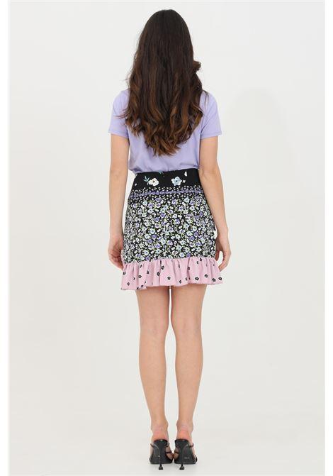 Miniskirt with high waist flower print with flounces GLAMOROUS | Skirt | KA6339BLACK PINK MULTI FLOWER
