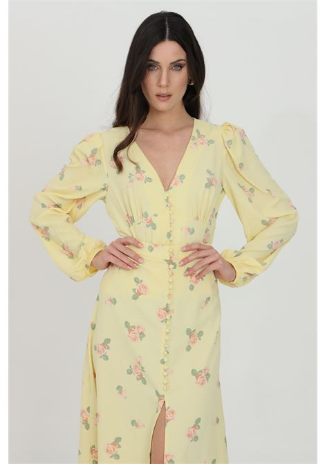 Camicia donna giallo Glamorous casual con stampa flower e chiusura con bottoni. Polsini elastici e arriccio sulle spalle GLAMOROUS | Camicie | KK0192YELLOW PINK ROSE