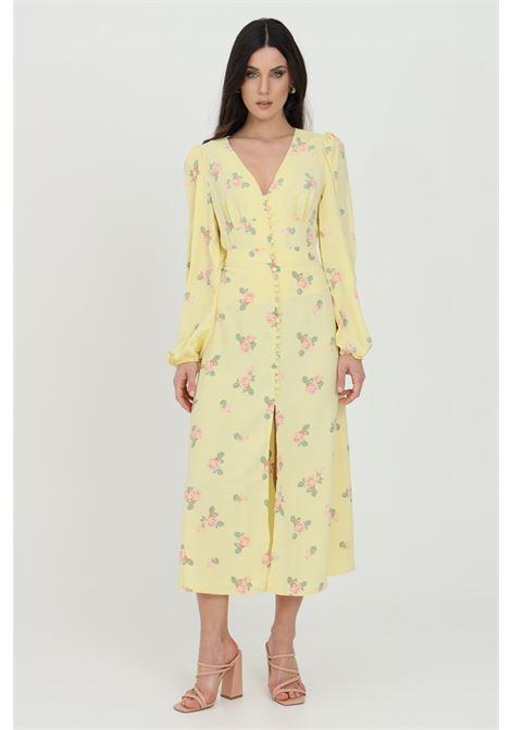 Gonna donna giallo Glamorous lunga con finti bottoni,spacco frontale e stampa flower. Chiusura laterale con zip GLAMOROUS | Gonne | SA0080AYELLOW PINK ROSE