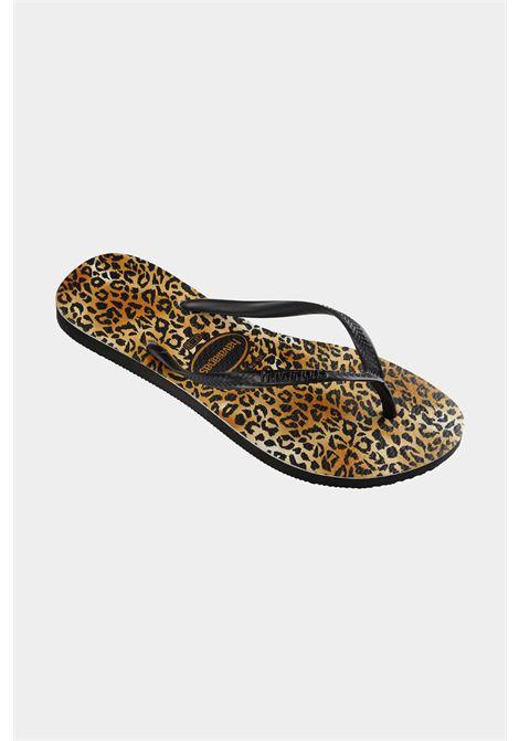 Infradito slim leopard fc donna marrone-nero havaianas HAVAIANAS | Infradito | 4145480.1069.F17BLACK/BLACK